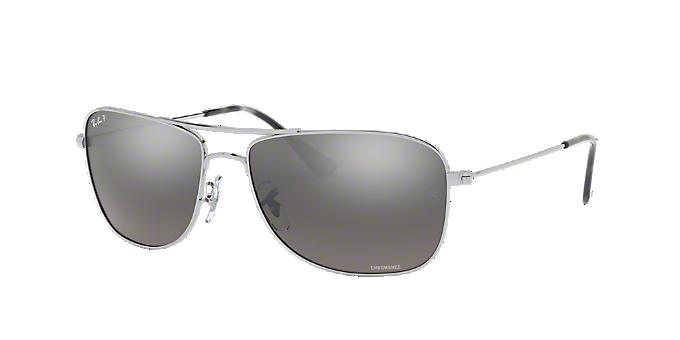 941d97f18b9 RB3543 59  Shop Ray-Ban Silver Gunmetal Grey Pilot Sunglasses at  LensCrafters