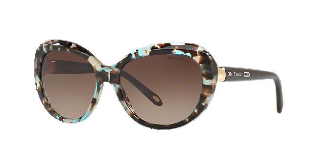 92f3e4a1810 TF4122 56  Shop Tiffany Tortoise Geometric Sunglasses at LensCrafters