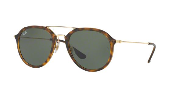 1e0cbb34f6 RB4253 53  Shop Ray-Ban Tortoise Square Sunglasses at LensCrafters