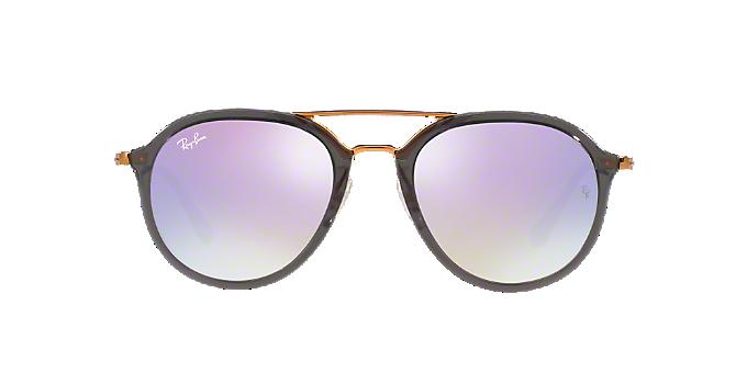 8c4fc9fc25 RB4253 53  Shop Ray-Ban Silver Gunmetal Grey Square Sunglasses at ...