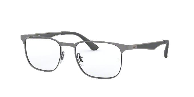 3507df7ccacbc RX6363  Shop Ray-Ban Silver Gunmetal Grey Square Eyeglasses at ...