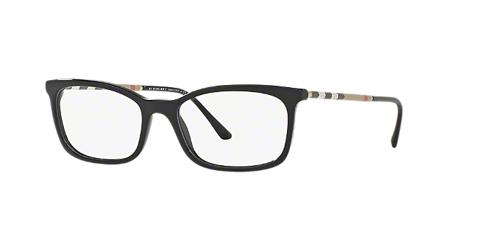BE2243Q: Shop Burberry Black Rectangle Eyeglasses at LensCrafters