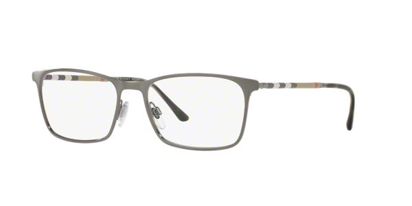 5c5fe8035754 BE1309Q  Shop Burberry Matte Gunmetal Rectangle Eyeglasses at LensCrafters