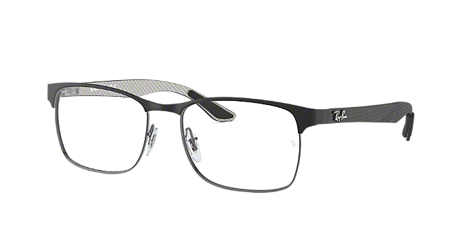 0d773de3cc RX8416  Shop Ray-Ban Silver Gunmetal Grey Square Eyeglasses at ...