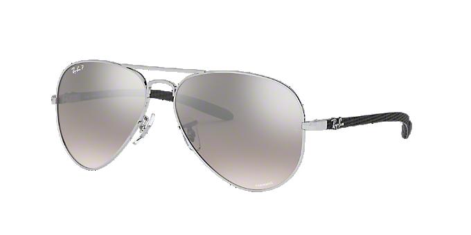 1fd3d8e18e6 RB8317CH 58  Shop Ray-Ban Silver Gunmetal Grey Pilot Sunglasses at ...