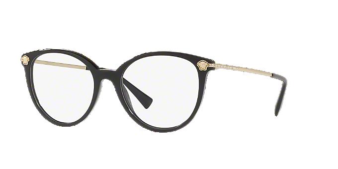 892a6a599ec38 VE3251B  Shop Versace Black Round Eyeglasses at LensCrafters