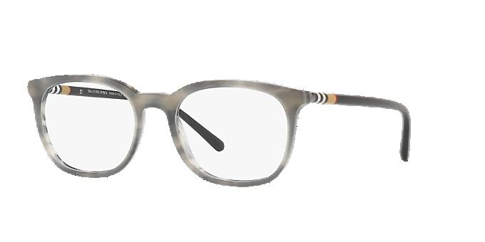 8db31fc4da9 BE2266  Shop Burberry Silver Gunmetal Grey Square Eyeglasses at ...