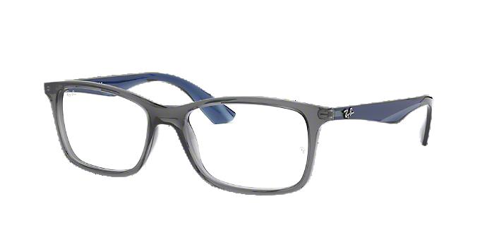 8e704492c6b9e RX7047  Shop Ray-Ban Silver Gunmetal Grey Rectangle Eyeglasses at ...