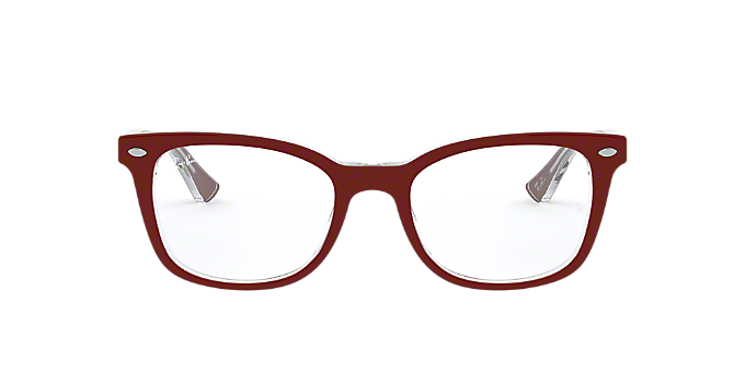 RX5285: Shop Ray-Ban Red/Burgundy Square Eyeglasses at LensCrafters
