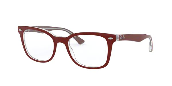 5d81f0324c RX5285  Shop Ray-Ban Red Burgundy Square Eyeglasses at LensCrafters