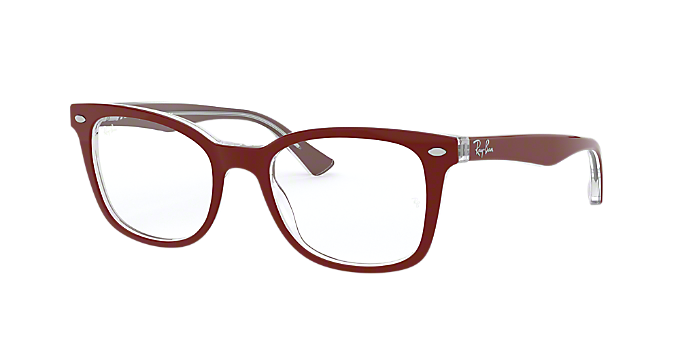 9ca3fdcf7e RX5285  Shop Ray-Ban Red Burgundy Square Eyeglasses at LensCrafters