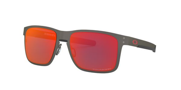 548682e7a OO4123 55 Holbrook Metal: Shop Oakley Silver/Gunmetal/Grey Square Sunglasses  at LensCrafters