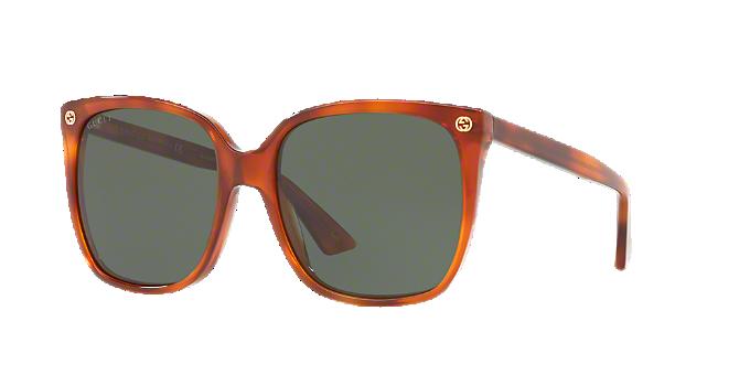 7c904bf4da3 GG0022S 57  Shop Gucci Tortoise Cat Eye Sunglasses at LensCrafters