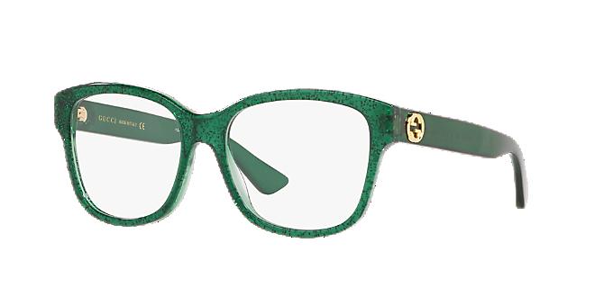 fcc7fa881f5 GG0038O  Shop Gucci Green Square Eyeglasses at LensCrafters