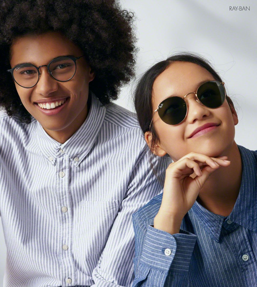 Boy and girl wearing Ray-Ban sunglasses