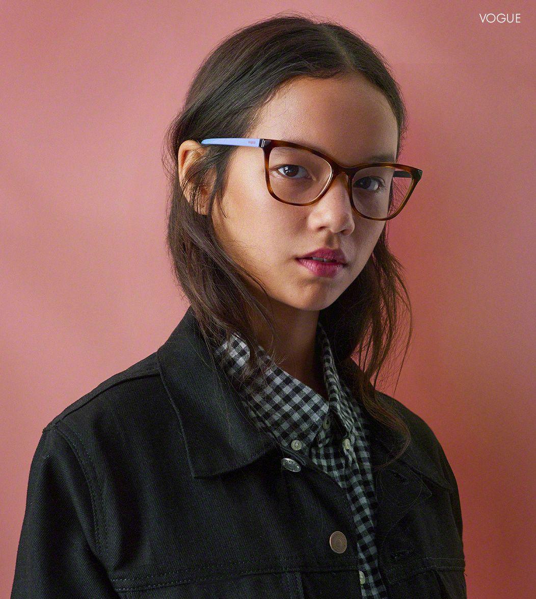 Girl wearing Vogue eyeglasses