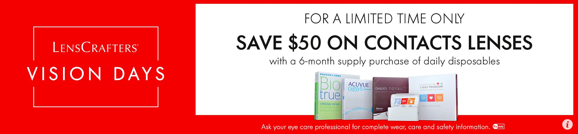 $50 off 6 month supply of daily disposable lenses