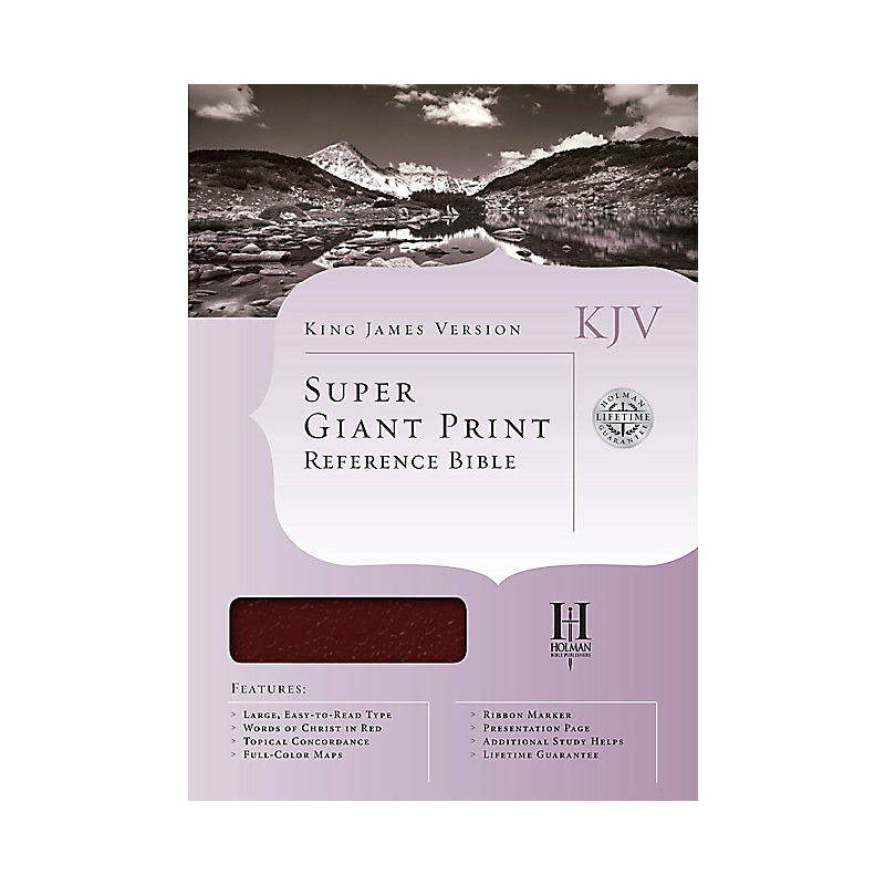 KJV Super Giant Print Reference Bible, Burgundy Simulated Leather