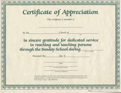 Appreciation for ss worker lifeway for Bible study certificate templates