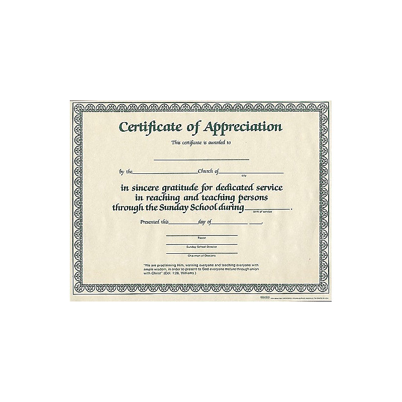 Certificate of appreciation for church for Church certificate of appreciation