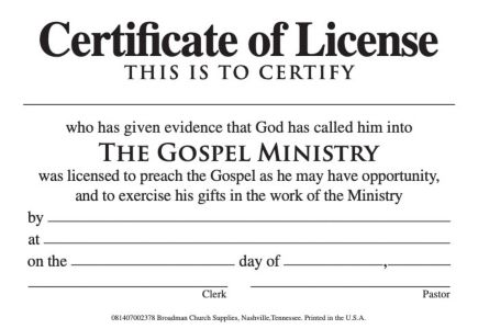 License for minister billfold bh publishing group for Minister license certificate template