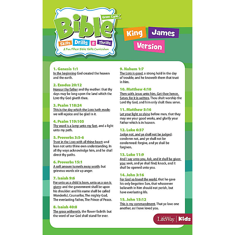 Bible Skills, Drills, & Thrills: Green Cycle Verse Cards - KJV