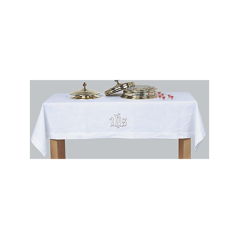 Communion Table Cover: Linen Blend with Embroidered IHS (47 x 86)