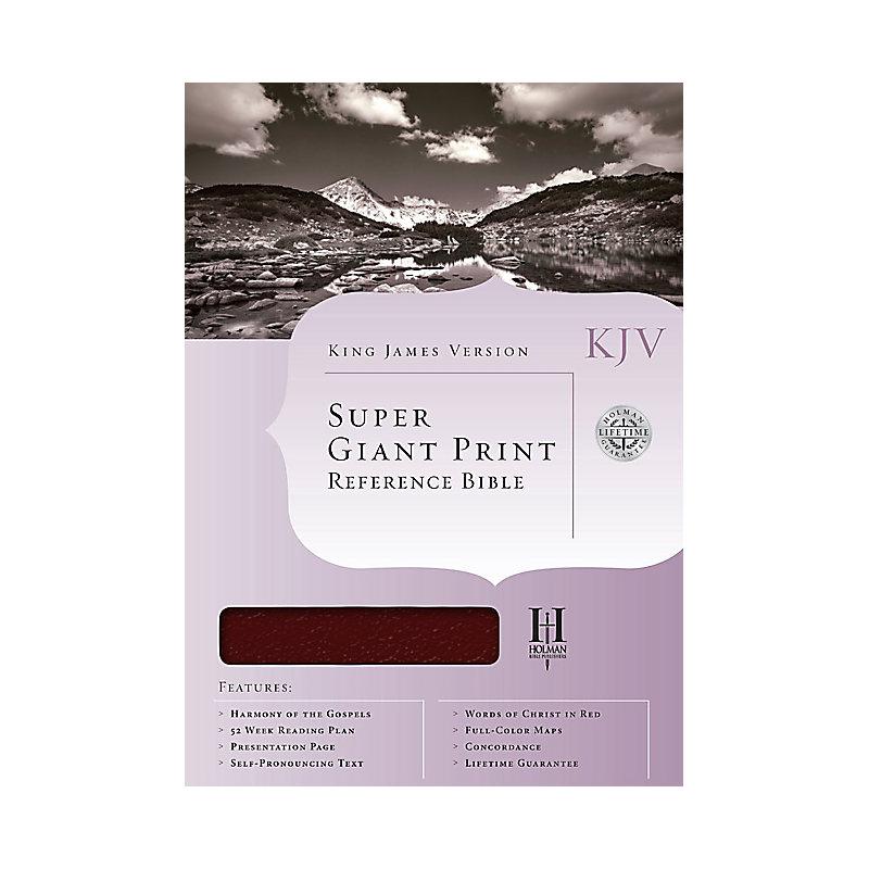 KJV Super Giant Print Bible, Burgundy Genuine Leather Indexed