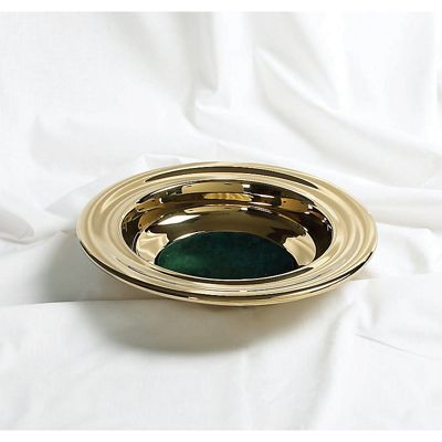 Brass Offering Plate w/Green Felt & Offering Plates for Churches - LifeWay