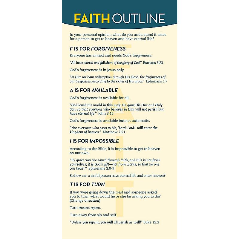 FAITH Evangelism Outline Card (Pkg/12)