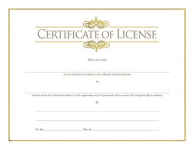 photo about Free Printable Minister License Certificate called Church Certificates Subscription, Baptism, Sunday University and
