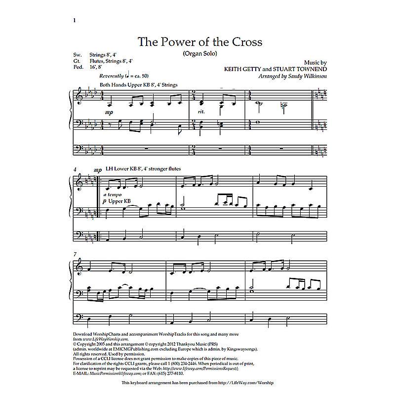 The Power Of The Cross Downloadable Organ Arrangement