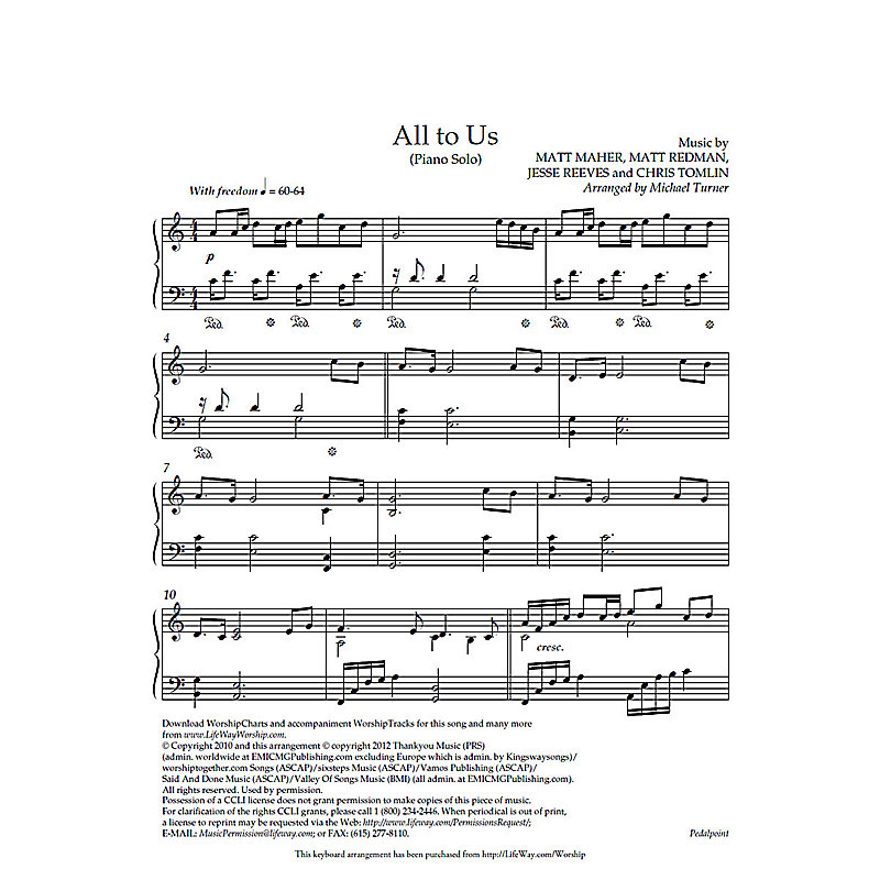 All to Us - Downloadable Piano Arrangement - LifeWay