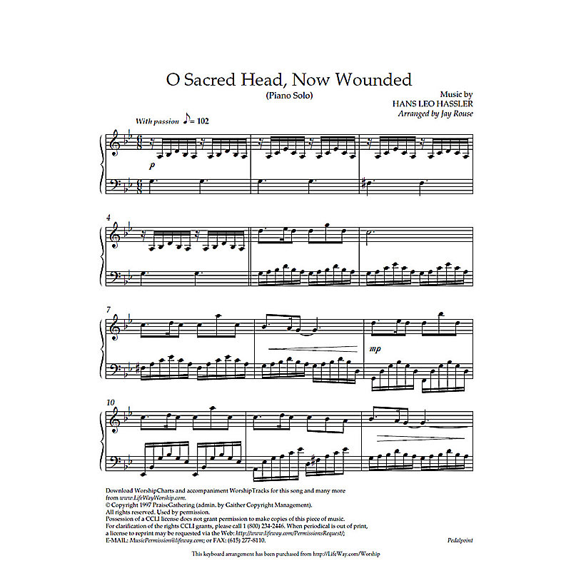 O Sacred Head Now Wounded Downloadable Piano Arrangement