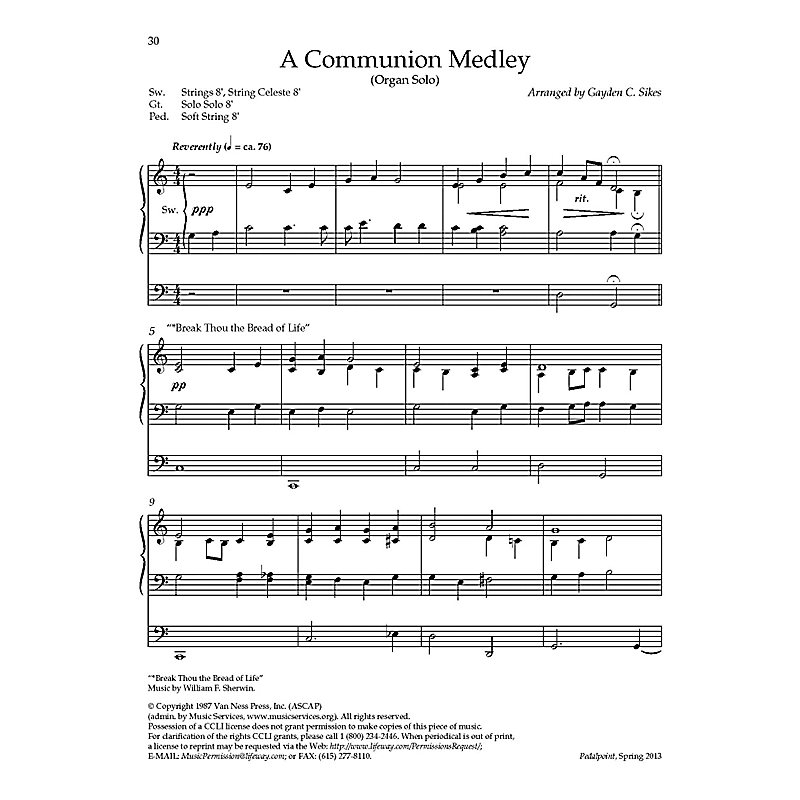 A Communion Medley - Downloadable Organ Arrangement