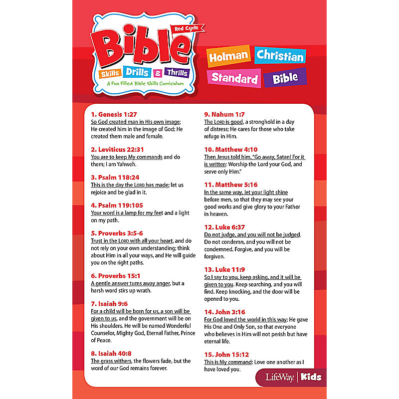 Bible Skills, Drills, & Thrills: Red Cycle - HCSB Verse Cards