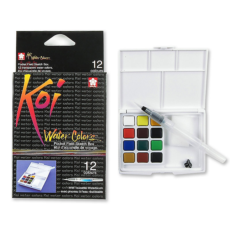 Koi Water Color Field Sketch Kit - Set of 12 Colors