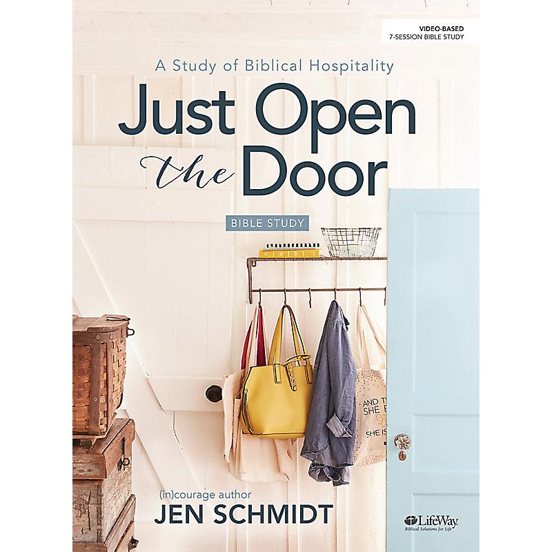 lifeway women's bible studies, cover of just open the door by jen schmidt