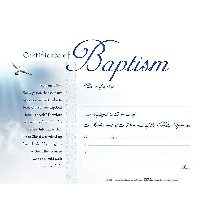 Baptism - White Clouds Flat Certificate (Pkg 6)