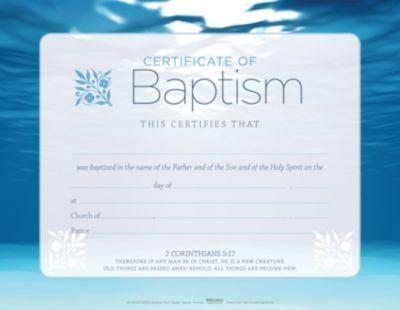 pkg of 6 Package of 6 Certificate Baptism Dove /& Blue