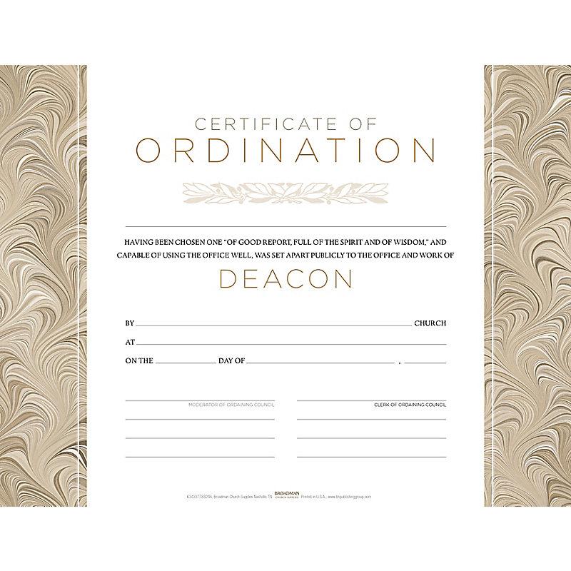 Deacon Ordination Flat Certificate (Pkg 6)