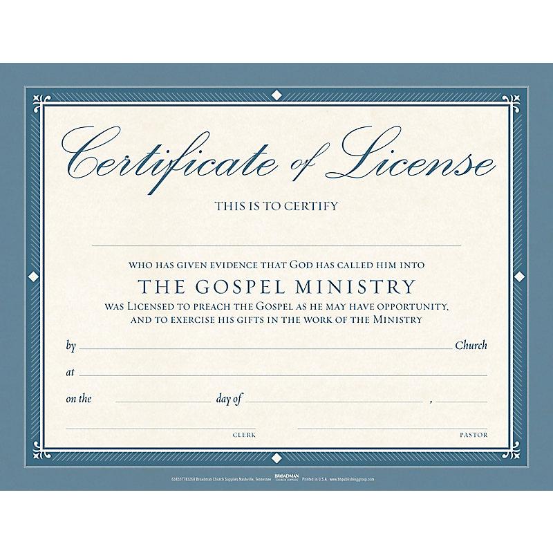 Minister License Flat Certificate (Pkg 6)