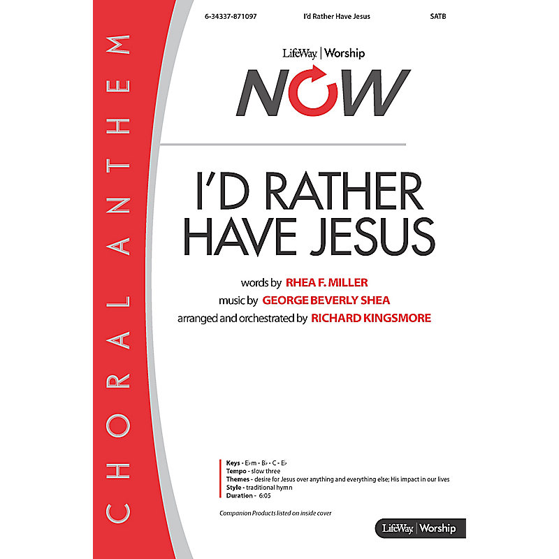 I'd Rather Have Jesus - Downloadable Split-Track Accompaniment Track