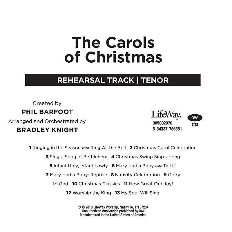 The Carols of Christmas - Tenor Rehearsal CD