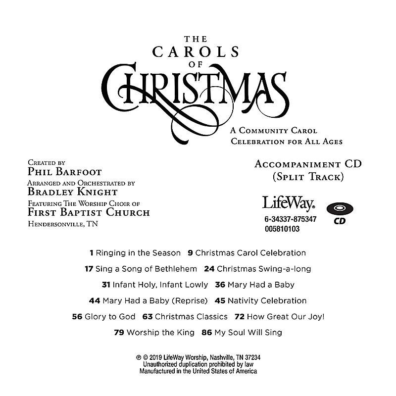 The Carols of Christmas - Accompaniment CD
