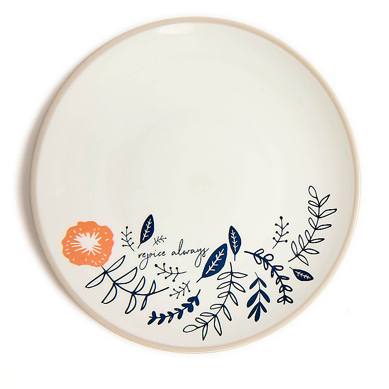Rejoice Always - Floral Plate - Gray