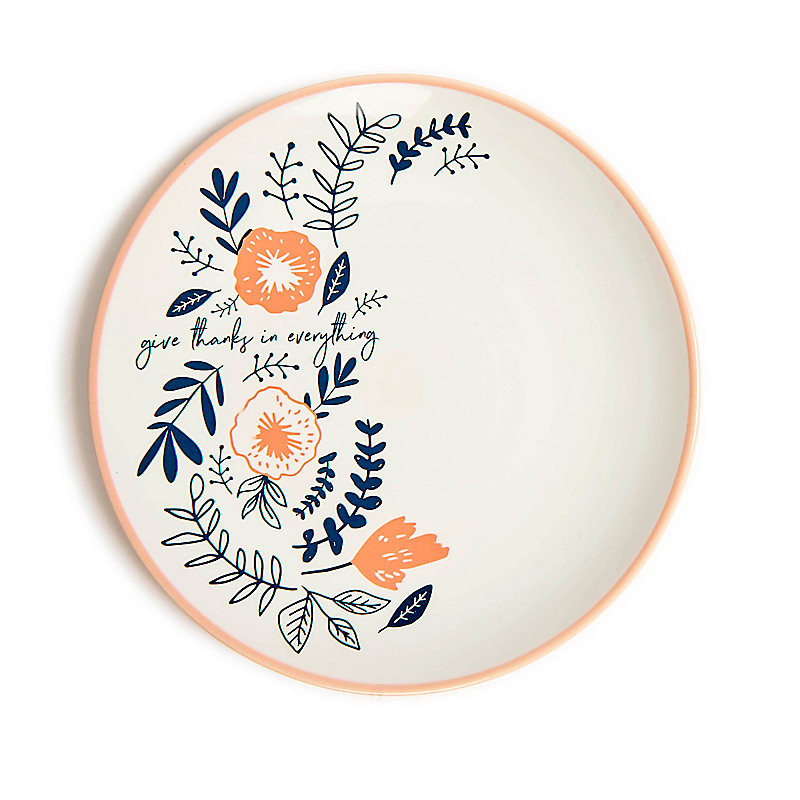 Give Thanks - Floral Plate - Pink