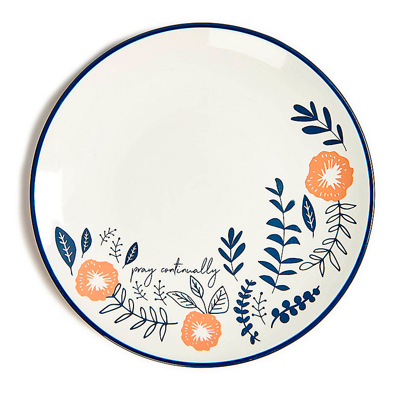 Pray Continually - Floral Plate - Navy