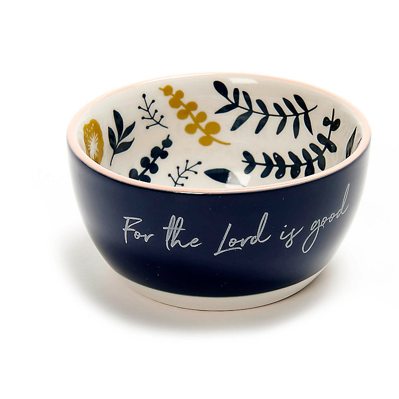 For the Lord Is Good - Floral Mini Bowl - Navy