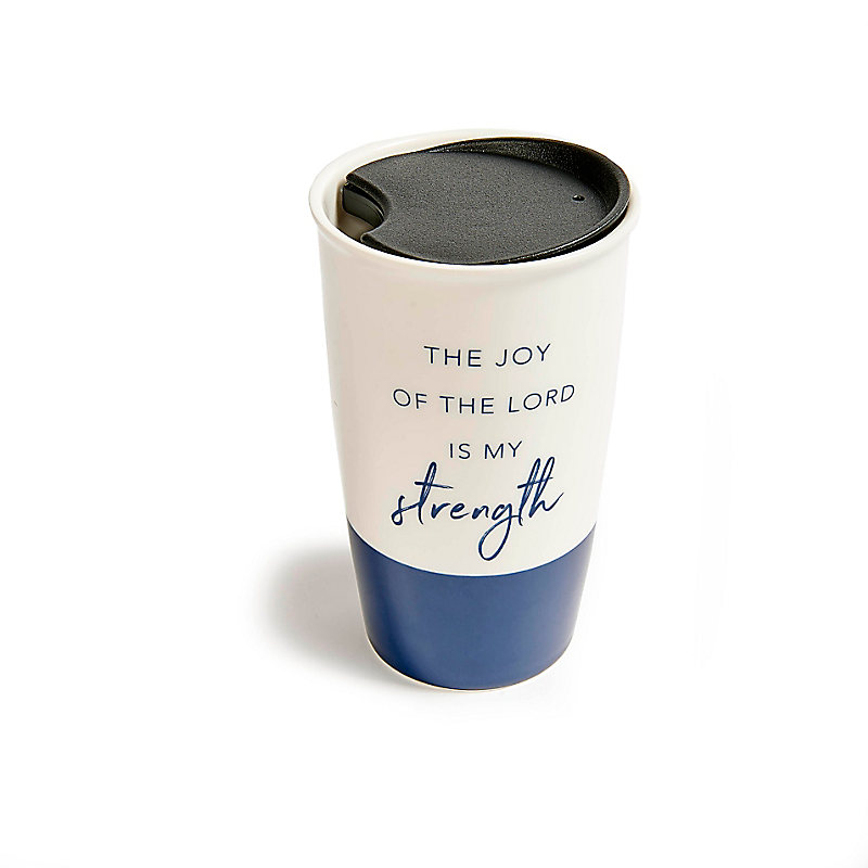 The Joy of the Lord - Ceramic Travel Cup - Navy